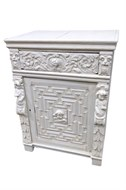 Image of Cement Encrusted Renaissance Style Oak Cabinet