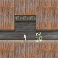 Image of Custom Antique Wood Panel Cabinetry