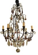 Image of French Iron Chandelier With Amethyst Crystals