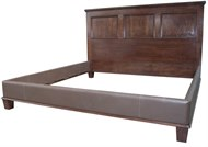 Image of Paneled Wood and Leather Bed