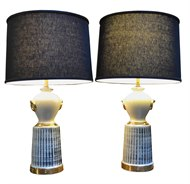Image of Pair of Ivory, Black and Gold Lamps