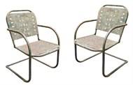 Image of Pair of Rustic Green Chairs
