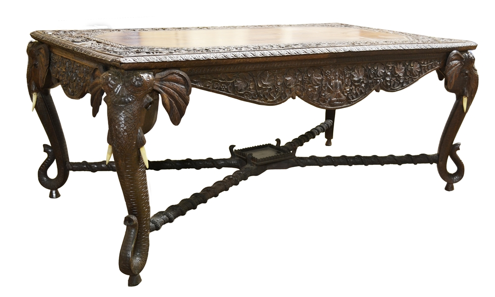 128/2044   Carved Elephant Table